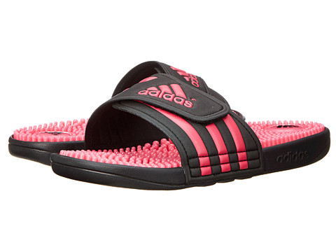 adidas - adissage (Black/Bahia Pink) Women's Sandals