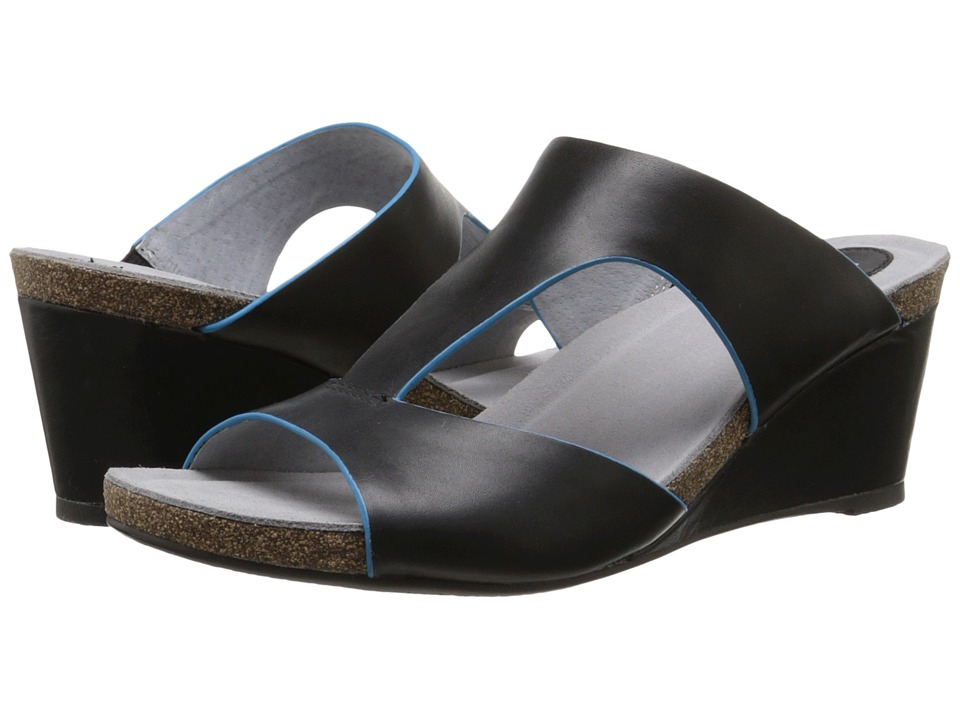 SoftWalk - Jermaine (Black/Blue Soft Dull Leather) Women's Wedge Shoes