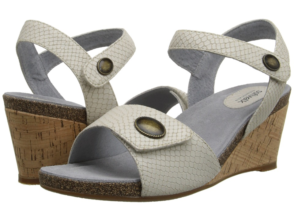 SoftWalk - Jordan (Light Grey Snake Embossed Leather) Women's Wedge Shoes