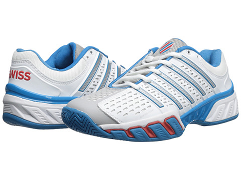K-Swiss - Bigshot 2.5 (White/Methyl Blue/Fiery Red) Men's Tennis Shoes