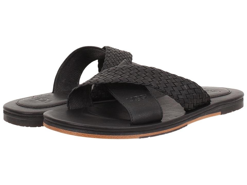 UGG - Hendry Weave (Black Leather) Men's Sandals
