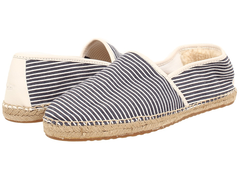 UGG - Kas Stripe (White/Navy Cotton) Men's Slip on Shoes