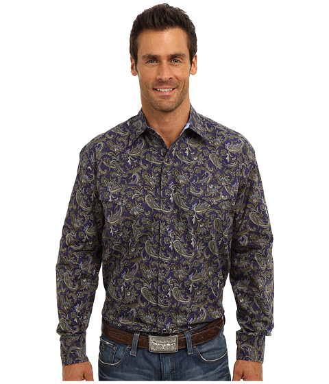 Stetson - Ornate Paisley Print On Poplin 9311 (Blue) Men's Long Sleeve Button Up