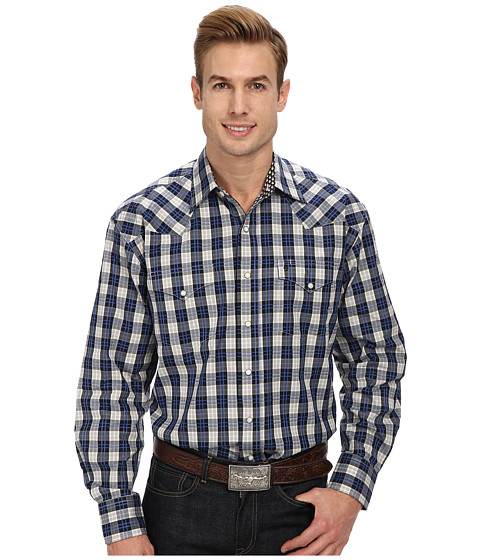 Stetson - Grid Lock Plaid Flat Weave w/ Satin (Black) Men's Long Sleeve Button Up
