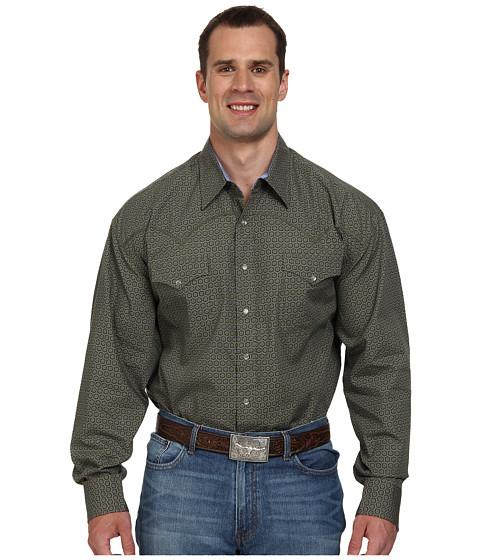 Stetson - Funky Geo Print On Poplin 9312 (Green) Men's Long Sleeve Button Up
