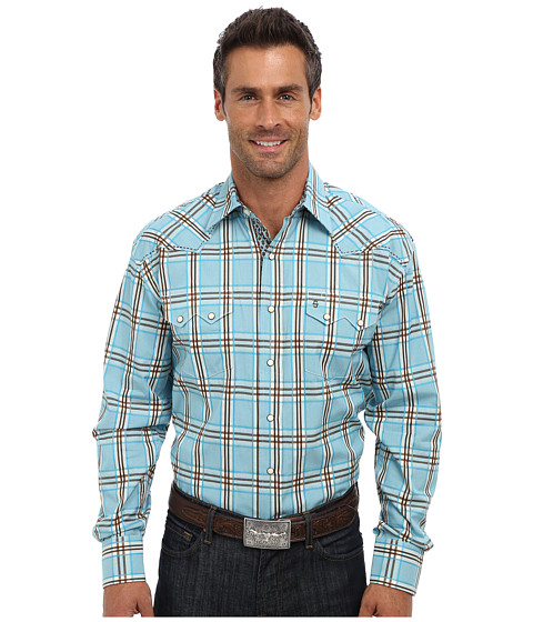 Stetson - Gate Plaid On Flat Weave w/ Satin Stripe (Blue) Men
