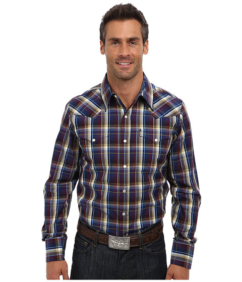 Stetson - Diamond Back Plaid Flat Weave w/ Satin (Blue) Men's Long Sleeve Button Up