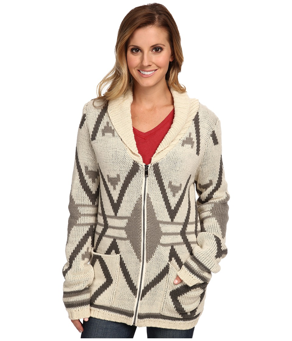 Stetson - Aztec Intarsia Zipper Front Cardigan (Brown) Women's Sweater