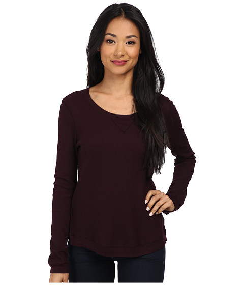 Splendid - Thermal Pullover Top (Aubergine) Women's Long Sleeve Pullover