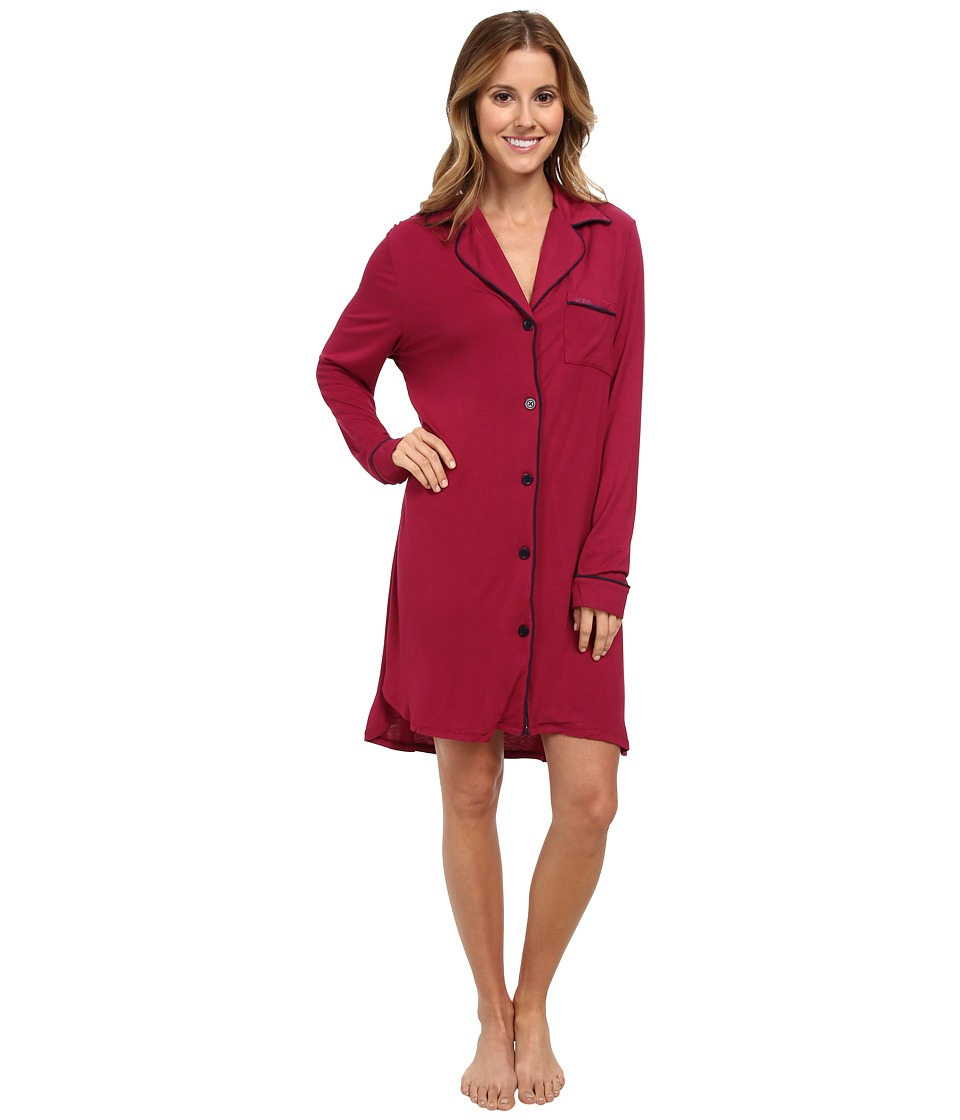 Image of BCBGeneration - Alarms Are Overrated Sleepshirt (Garnet) Women's Pajama