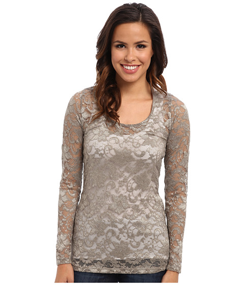 Stetson - 9325 Stretch Lace Long Sleeve Top (Brown) Women's Long Sleeve Pullover