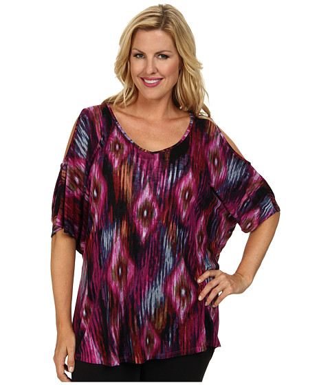 Stetson - Plus Size 9320 Blurred Ikat Print Filament Knit (Blue) Women's Short Sleeve Pullover