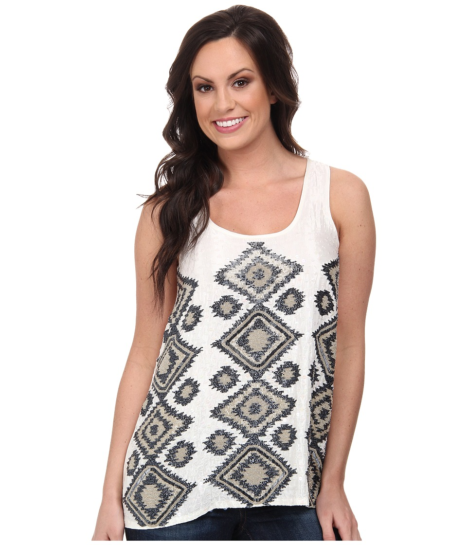 Stetson - 8954 Beaded Tank (White) Women's Sleeveless