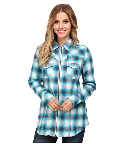 Stetson - 9318 Brushed Twill - Love Plaid Shirt (Blue) Women's Long Sleeve Button Up