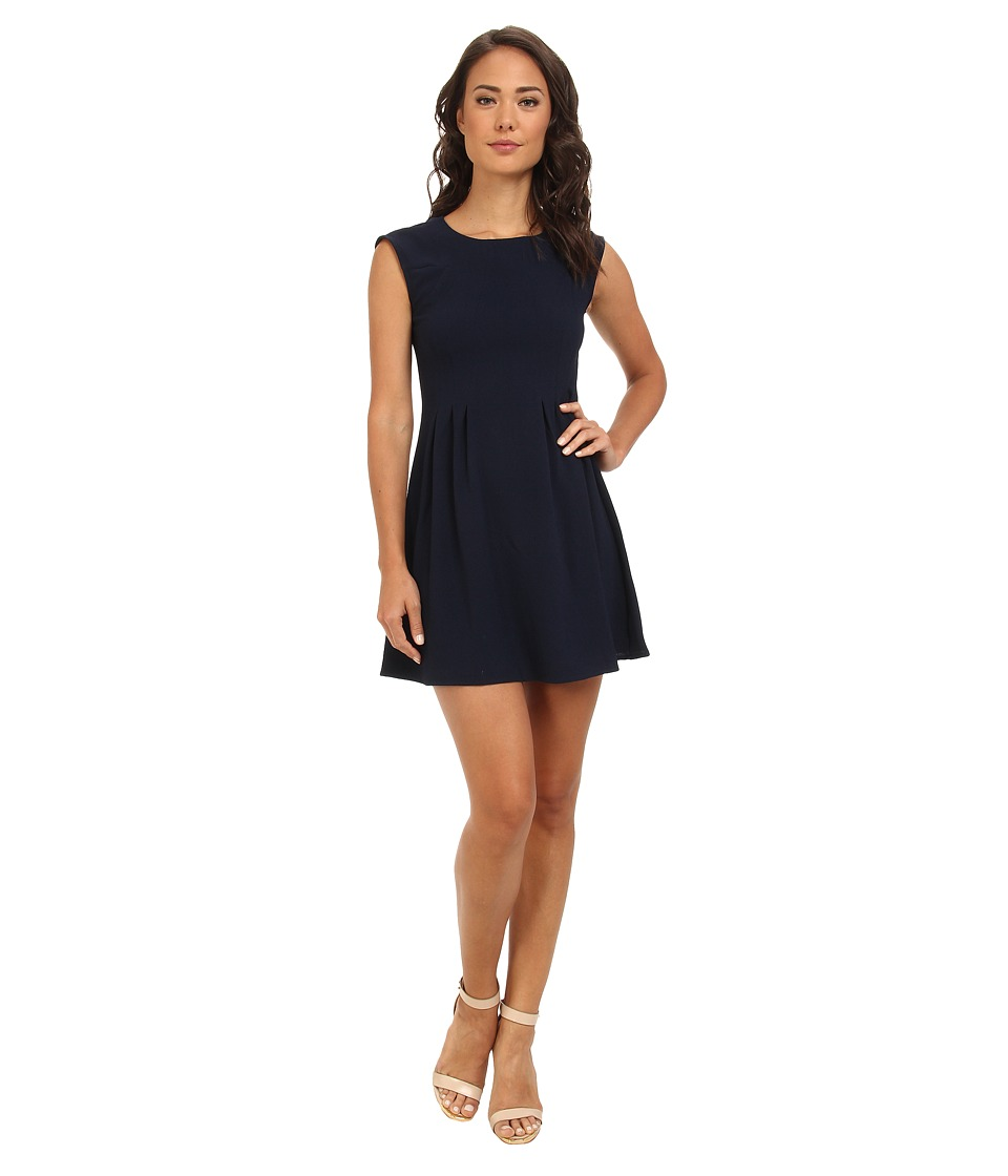 Brigitte Bailey - Crepe Zip Back Fit Flare (Navy) Women's Dress