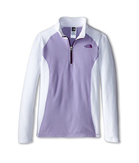 The North Face Kids - Glacier 1/4 Zip (Little Kids/Big Kids) (TNF White/Violet Tulip Purple) Girl's Sweatshirt