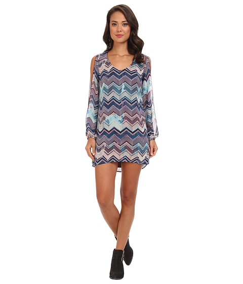 Brigitte Bailey - Chiffon Chevron Print Shift (Purple/Teal) Women's Dress