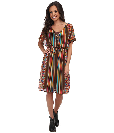 Stetson - 9316 Aztec Serape Printed Chiffon (Brown) Women's Clothing