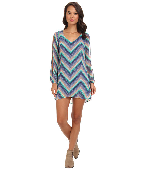Brigitte Bailey - Chiffon Chevron Print Shift (Navy/Taupe) Women's Dress