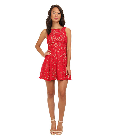 Gabriella Rocha - Lace Tank V-Neck Fit Flare (Red/Camel) Women's Dress