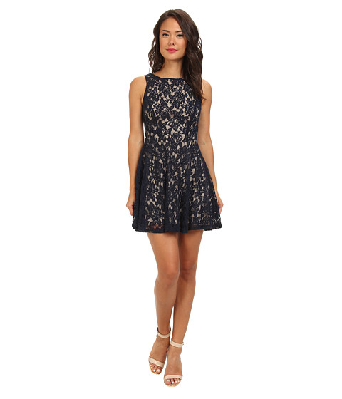 Gabriella Rocha - Lace Tank V-Neck Fit Flare (Navy/Taupe) Women's Dress