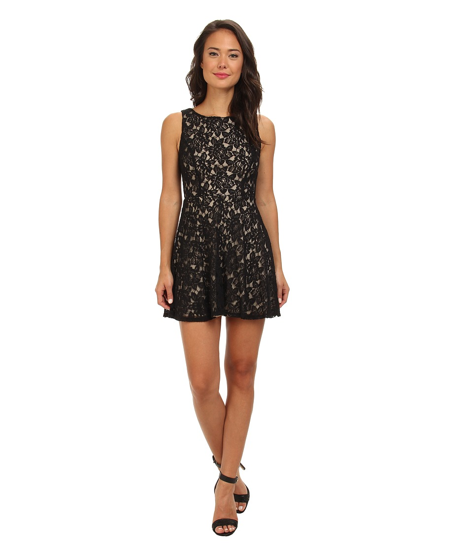 Gabriella Rocha - Lace Tank V-Neck Fit Flare (Black/Nude) Women's Dress