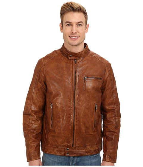 Stetson - Smooth Leather Jacket w/ Zipper Cuffs (Brown) Men's Coat