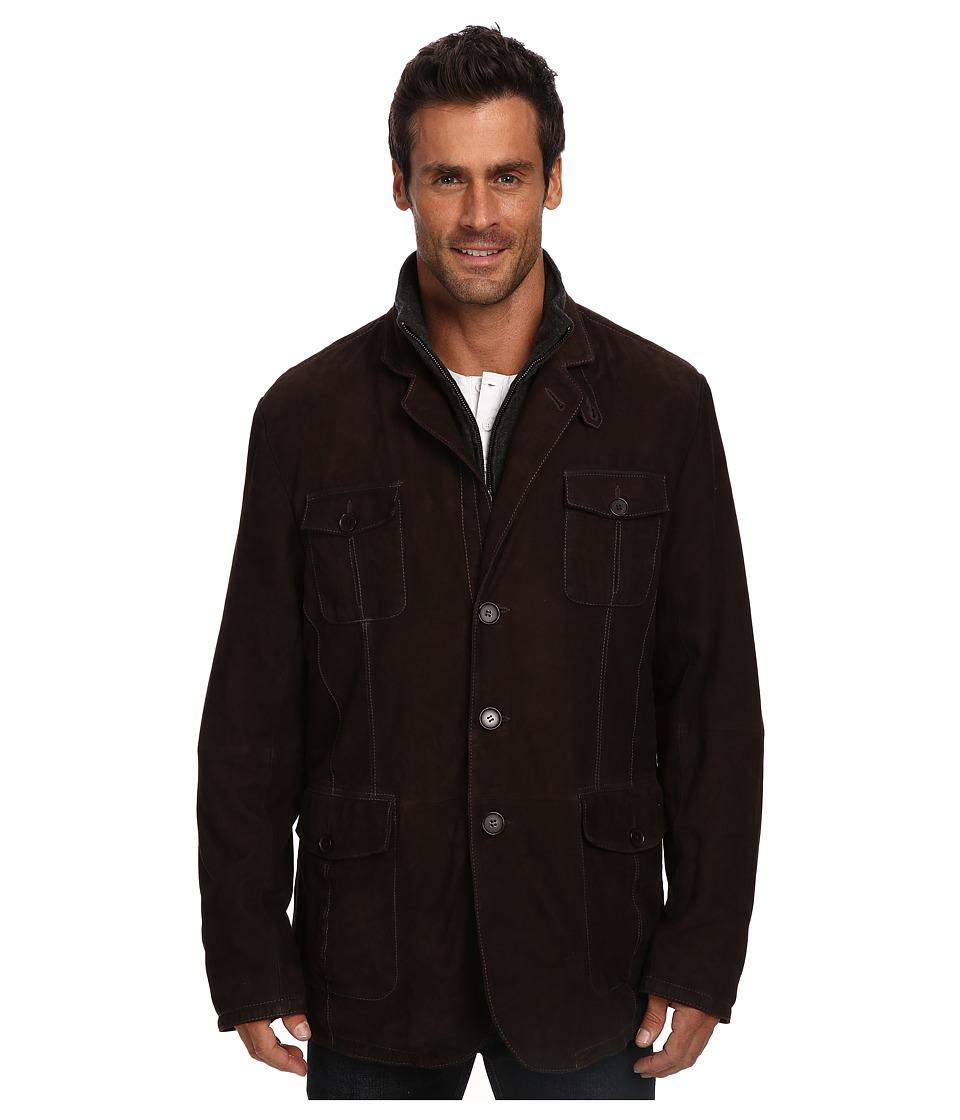 Stetson - Suede Jacket w/ Wool Zipper Insert (Brown) Men's Coat