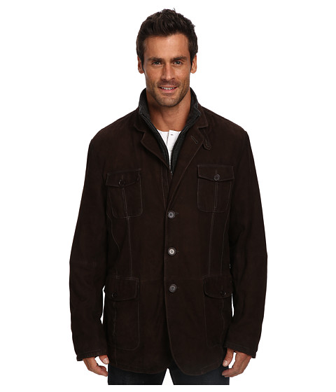 Stetson - Suede Jacket w/ Wool Zipper Insert (Brown) Men's Coat