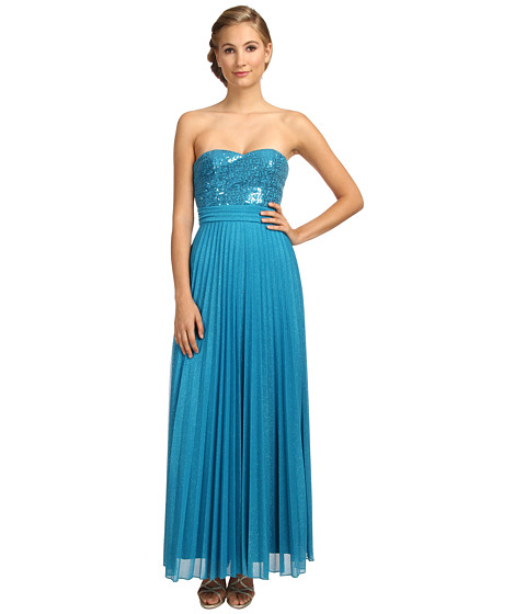 Alejandra Sky - Ombre Pleated Gown (Turquoise) Women