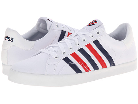 K-Swiss - Belmont SO T (White/Navy/Red) Men's Tennis Shoes