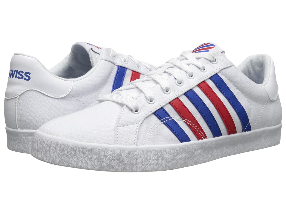 K-Swiss - Belmont SO T (White/Classic Blue/Red) Women's Tennis Shoes