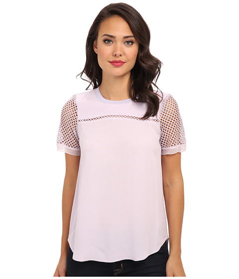 Rebecca Taylor - S/S Top w/ Mesh (Lavender) Women's Short Sleeve Pullover