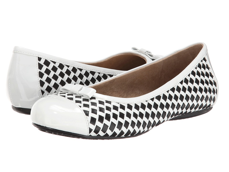 SoftWalk - Naperville (White/Black Woven Soft Nappa Leather/Patent) Women's Flat Shoes