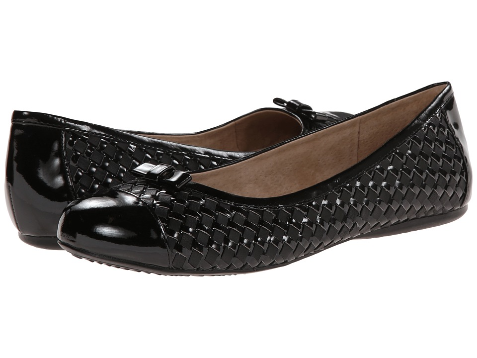 SoftWalk Naperville (Black/Black Woven Soft Nappa Leather/Patent) Women