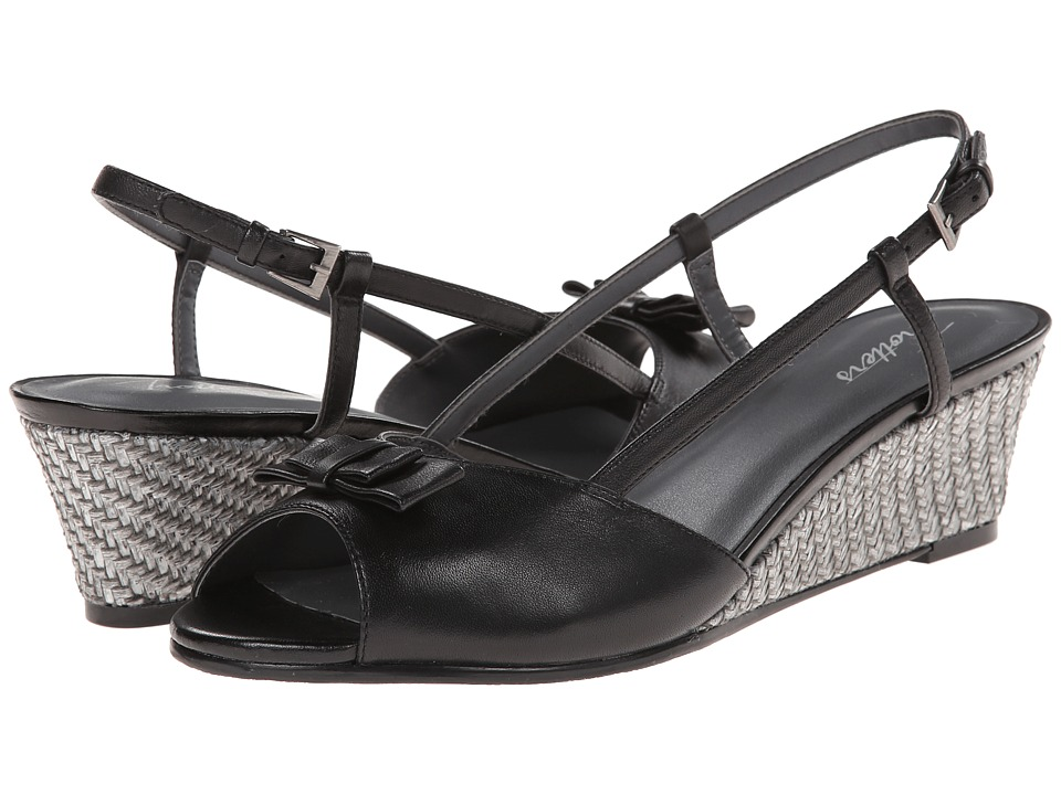 Trotters - Milly (Black Burnished Soft Kid Leather) Women's Wedge Shoes