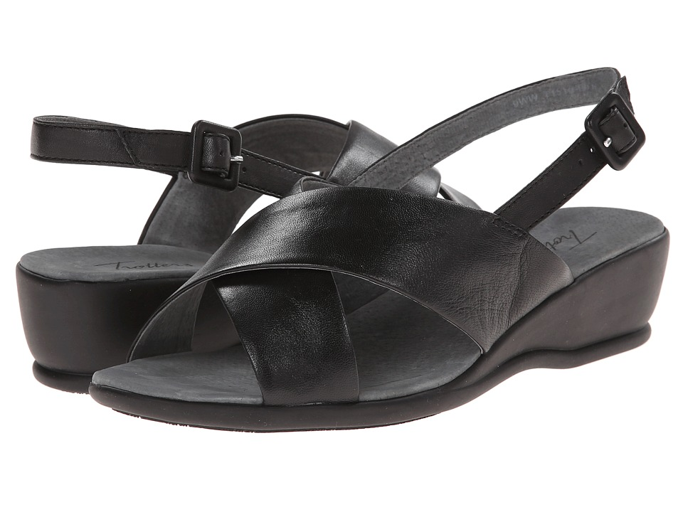 Trotters - Lee (Black Burnished Soft Kid Leather) Women's Wedge Shoes