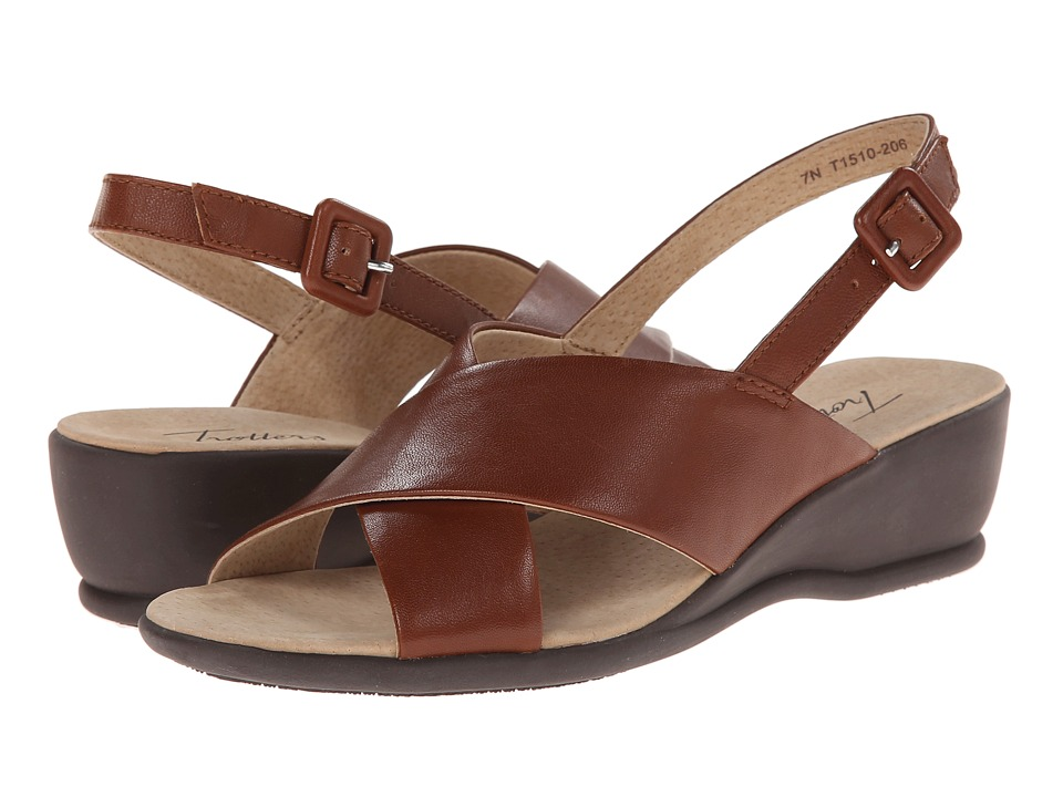 Trotters - Lee (Cognac Burnished Soft Kid Leather) Women's Wedge Shoes
