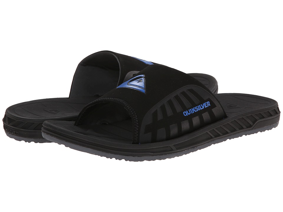 Quiksilver - Triton Slide (Black/Black/Blue) Men's Sandals