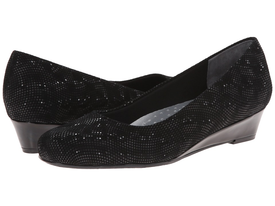 Trotters - Lauren (Black 3D Patent Suede Leather) Women's Slip-on Dress Shoes