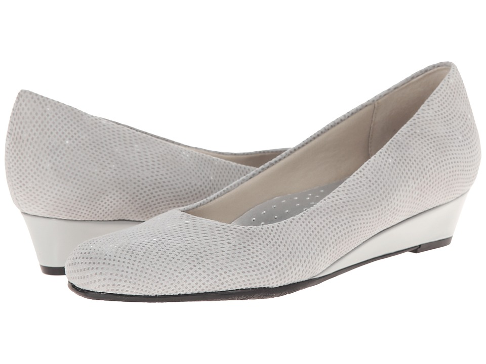 Trotters - Lauren (Light Grey 3D Patent Suede Leather) Women's Slip-on Dress Shoes