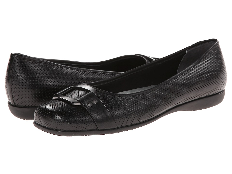 Trotters - Sizzle (Black Soft Perf Leather) Women's Dress Flat Shoes