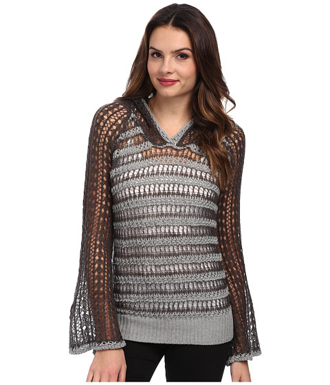 Chaser - Bell Sleeve Hoodie Pullover (Heather Grey/Magnet) Women
