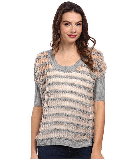 Chaser - Hi Lo Boxy Pullover (Heather Grey Petal) Women's Sweater