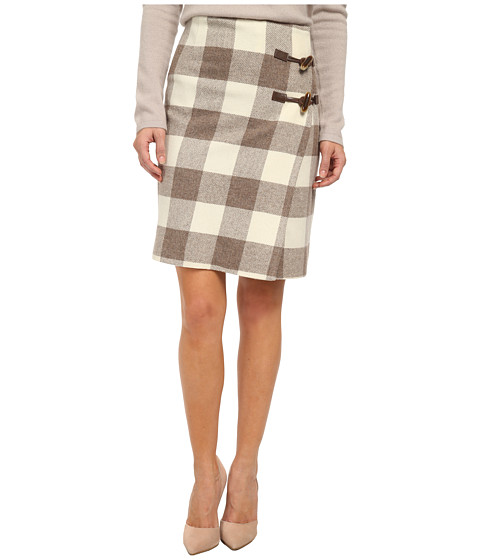 Pendleton - Petite Plaid Times Wrap Skirt (Ivory/Soft Brown Mix Buffalo Check) Women