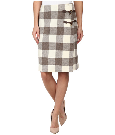 Pendleton - Plaid Times Wrap Skirt (Ivory/Soft Brown Mix Buffalo Check) Women