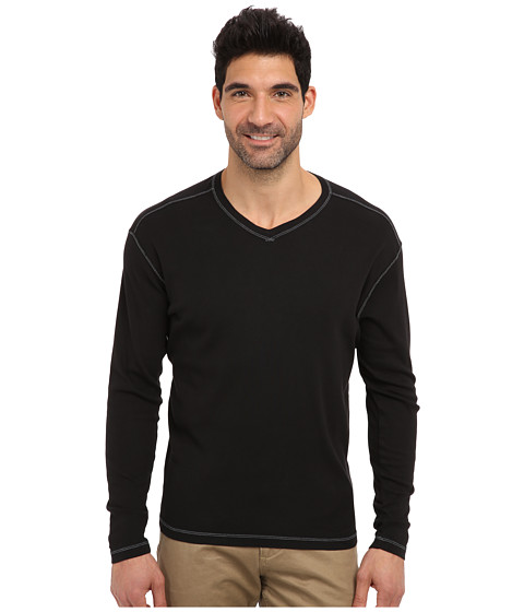 Agave Denim - Victoria L/S V-Neck (Caviar) Men's T Shirt