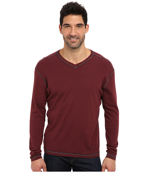 Agave Denim - Victoria L/S V-Neck (Red Mahogany) Men's T Shirt