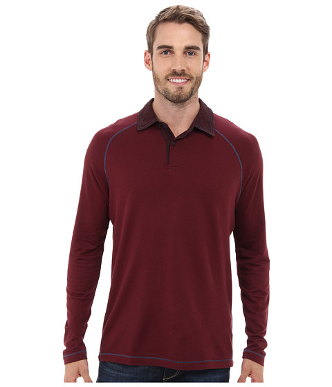 Agave Denim - Yakima L/S Rugby (Red Mahogany) Men's Long Sleeve Pullover