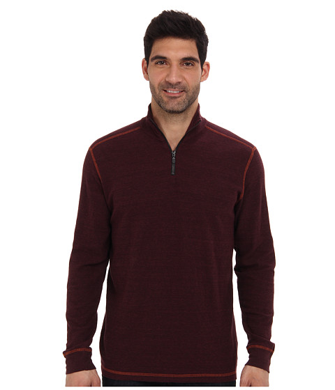 Agave Denim - Watsonville L/S Zip Mock Pullover (Red Mohogany) Men's Long Sleeve Pullover